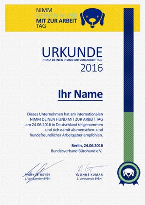 Urkunde Bürohundtag 2016