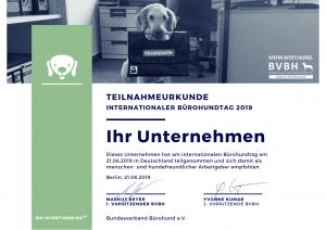 TEILNAHMEURKUNDE BÜROHUNDTAG 2019